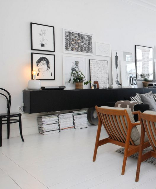 lampe wohnzimmer altbau:Black and White Living Room